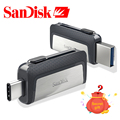 Original SanDisk 64GB USB 3.1 Flash Drive 130MB/S Type-C Dual OTG Pen Drives 16GB 32GB 64GB Memory Stick 32GB