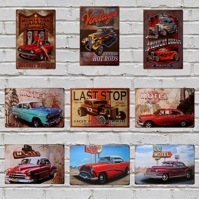 Us 7 11 15 Off Hot Rods Last Stop Vintage Car Poster Metal Tin Signs 20x30cm Iron Plate Wall Decor Plaque Pub Home Shop Cafe Garage Picture In