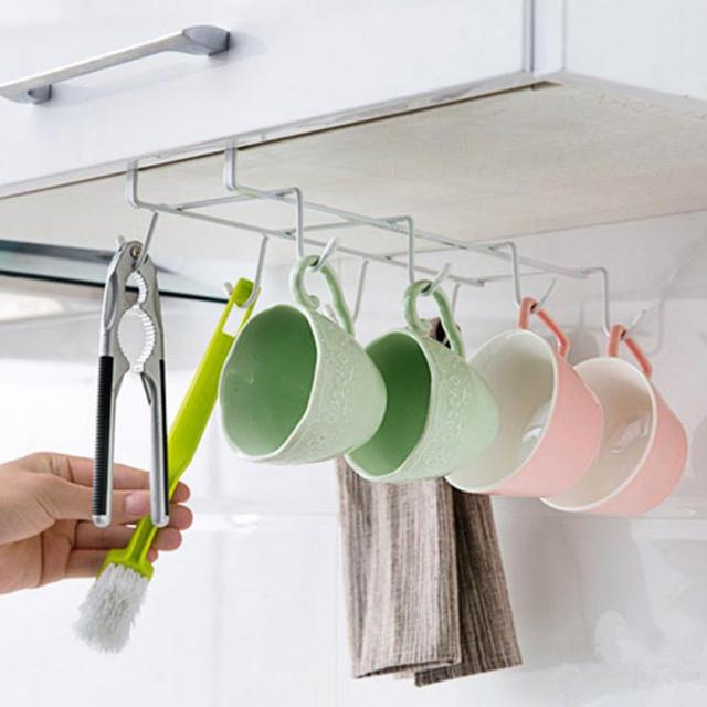 High Quality Under Cabinet Shelf Mug Cups Storage Rack Metal Holder Hanging Kitchen Organizer Cup