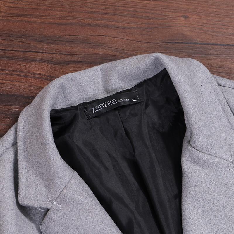 2019 ZANZEA Women Wool Blends Coat Winter Autumn Female Long Sleeve Double Breasted Long Jacket Plus Size Casual Windbreakers 15