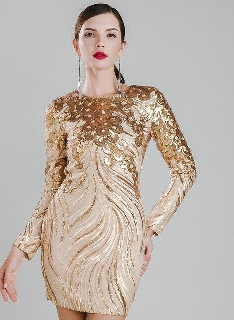 Kleid Sexy Kleider Sequin Gold Urlaub Verschönerte Über Knie Glamour 80wknOPX