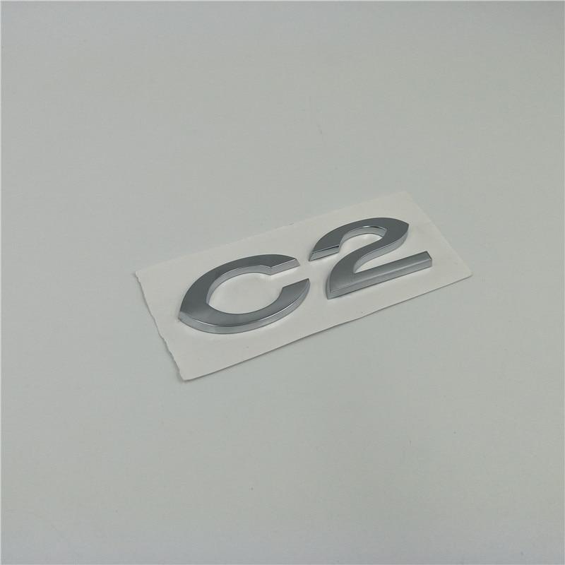 Car Rear Trunk Chrome 3D Letter Badge Emblem For Citroen C2 Auto Decoration Tail Sticker|Car Stickers| |  -