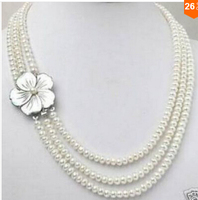 Rare Elegant 3row 7 8mm White Cultured Pearl Necklace Shell Clasp Factory Wholesale Price Women Gift
