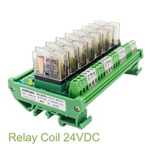 8 Channel 1 SPDT DIN Rail Mount OMRON G2R 24V DC/AC Interface Relay Module