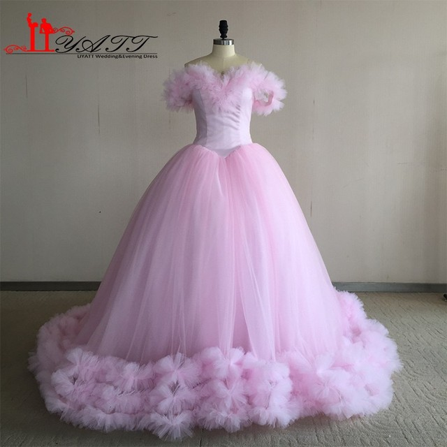 20111c9caea9 Real Photo Off The Shoulder Baby Pink Flowers Ball Gown Quinceanera Dresses  2017 Tulle Vestidos De