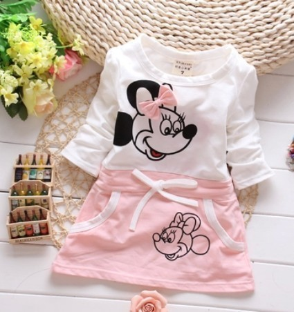 New Fashion Length 2018 Cute Cartoon Summer Minnie Baby Girl Clothes Is Suitable For Baby's Round Collar Dress