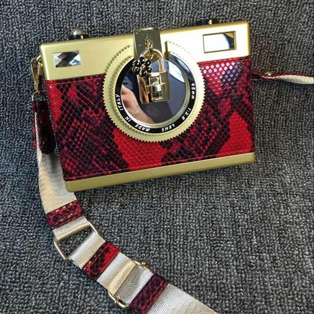 Red Fashion Design snakeskin pattern retro camera styling mini shoulder bag messenger bag ladies handbag party Clutch