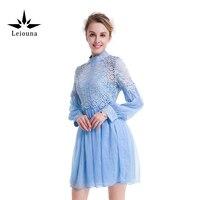 Leiouna Sky Blue Hollow Out Spring Sweet Long Sleeve Lace Imitate Real Silk Short Summer Dress