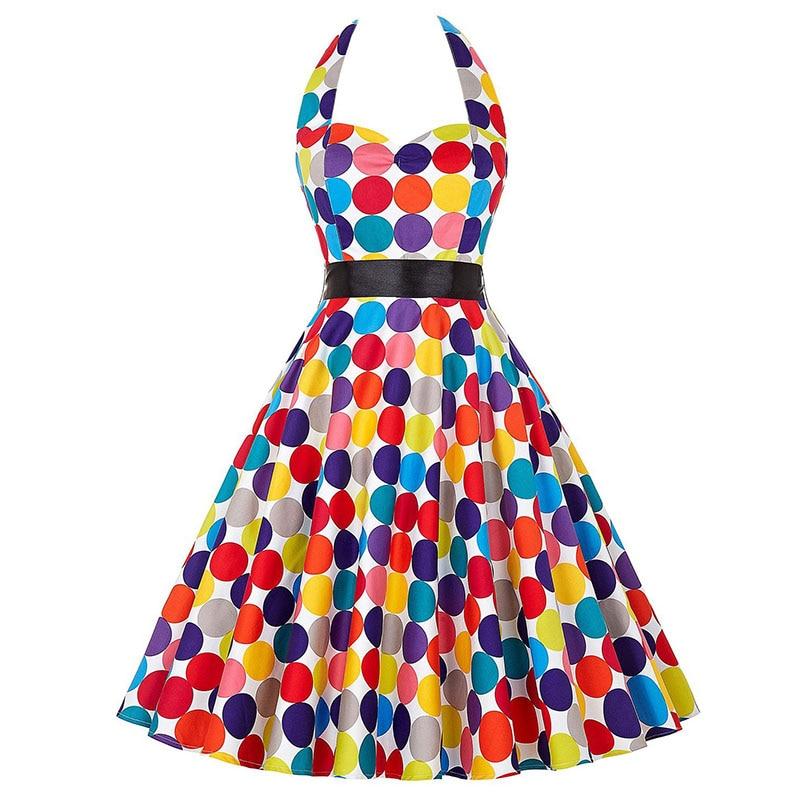 Sexy Halter Party Dress Retro Polka Dot Hepburn Vintage 50s 60s Pin Up Rockabilly Dresses Robe Plus Size Elegant Midi Dress 9