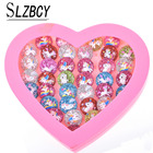 36pcs/lot Acrylic Chldren Unicorn Rings Sets With Heart Box For Women Colorful Open Adjustable Kid Finger Ring Jewelry Mix Style