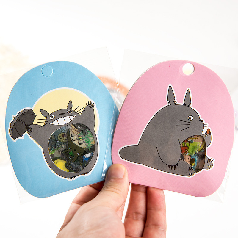 60 PCS/Pack New Creative Totoro Children Stationery Decorative Stickers Diary Label Stickers Pack Scrapbooking PVC DIY Stickers spring and fall leaves shape pvc environmental stickers decorative diy scrapbooking keyboard personal diary stationery stickers
