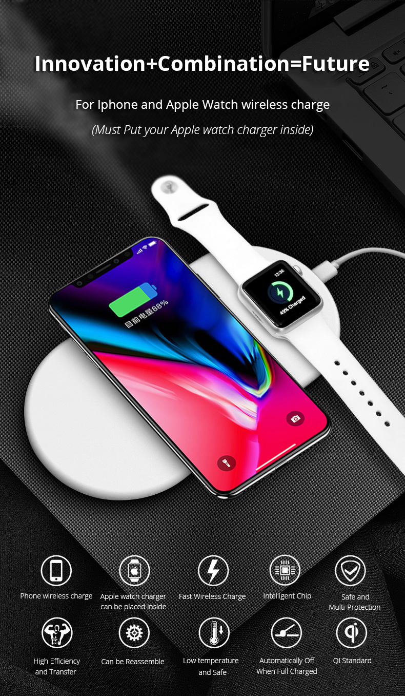 2 in 1 Wireless Charge Pad For Iphone X Iphone 8 Samsung S9 Samsung S8 DIY Disassemble Apple Watch wireless Charge Pads (1)