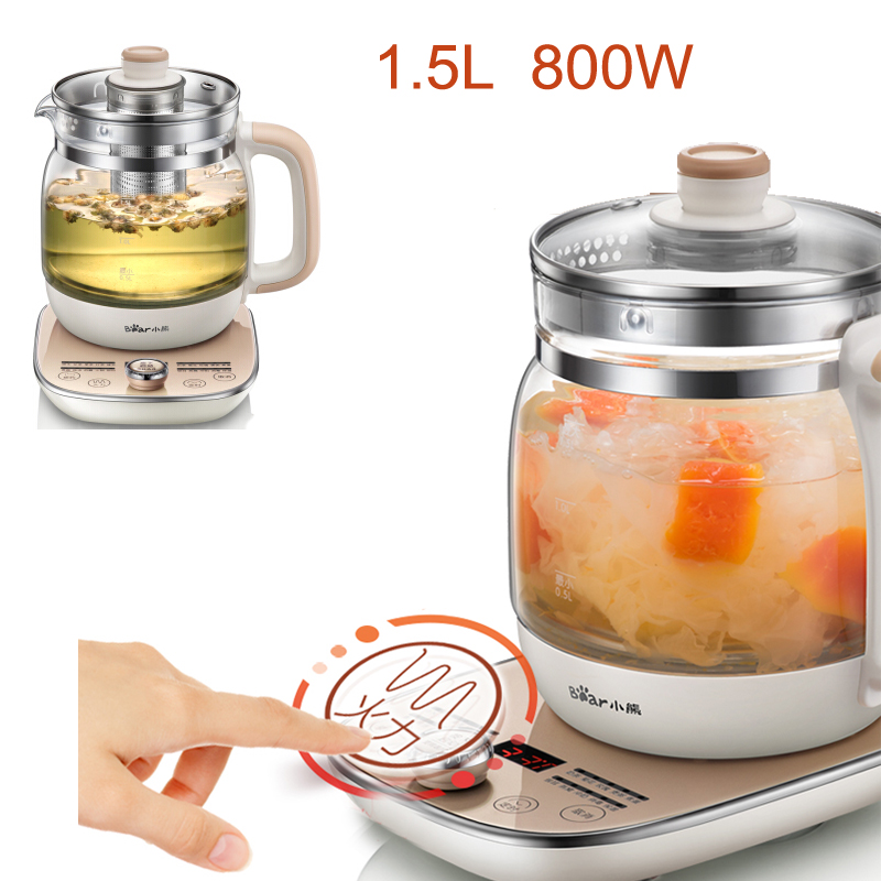 15% JA39,Electric Timed Kettle 1.5L Temperature Display Thickening Glass Health Preserving Pot Automatic Thermal Insulation цены онлайн