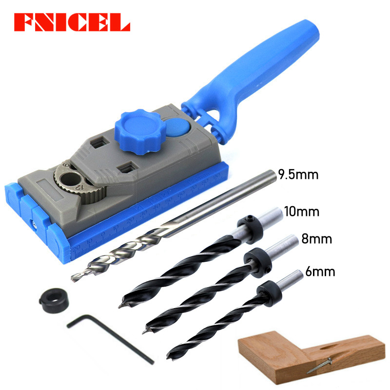 2 In 1 Woodworking Pocket Hole Jig Kit Set 9.5mm Drill For Scale Straight Hole Positioner Punching Tool