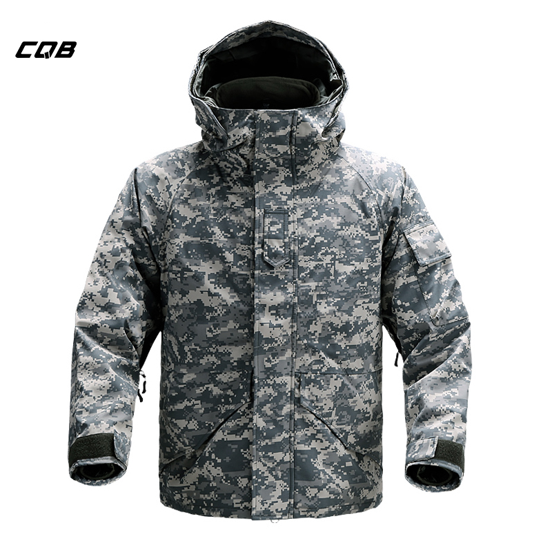 CQB Outdoor Sports Tactical Camping 2 piece set Winter Jacket Men's Skiing Clothes Windproof Warm Jacket for Hiking Hunting