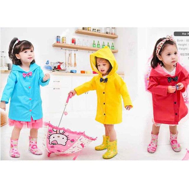 Модный детский дождевик с бантом для девочек, плащ от дождя, водонепроницаемый плащ с капюшоном, детский желтый, розовый, синий, 3 цвета