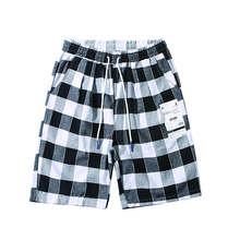 HFNF 2019 Summer Fashion hip hop casual  shorts men male shorts Knee Length trousers  Plaid  Loose plaid knee length casual mens shorts