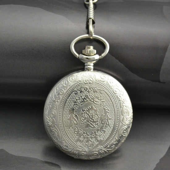 classic vintage retro style silver white face dial man men pocket watch with chain wholesale buyer price good quality