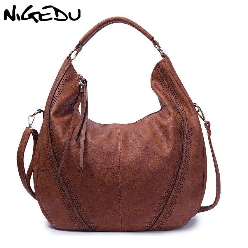 NIGEDU marca grande Casual Hobos mujeres borla bolso pucuero mujeres hombro bolso femenino grandes bolsos de mano para damas bolsos