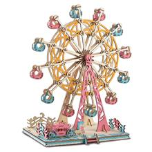 295Pcs Montessori Children Ferris Wheel Set Puzzles Toys Jigsaw Puzzle Creative Model Woodcraft Assembly Kit Toy Kid Gifts(China)