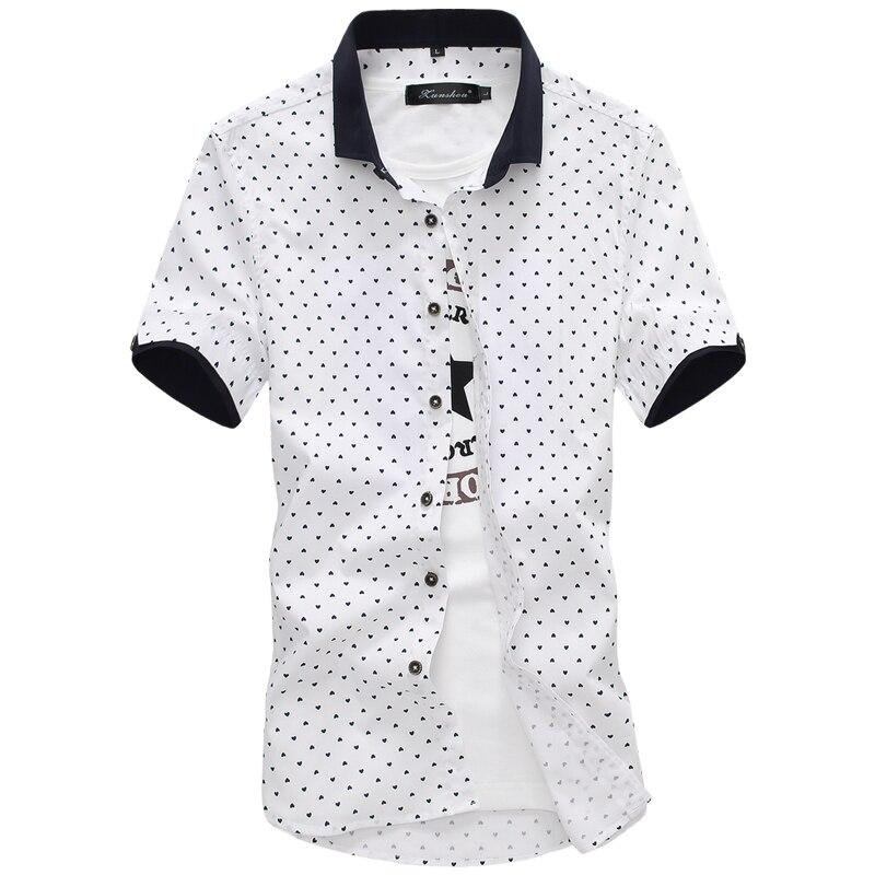 2019 New Arrival Brand Men's Summer Business Shirt Short Sleeves Turn-down Collar Tuxedo Shirt Shirt Men Shirts Big Size 5XL