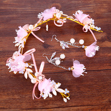 New Fashion Pearl Flowers Crown Pink Tassel Bridal Hair Jewelry Dress Wedding Hair Accessories Girl Party Gift Tiara de noiva