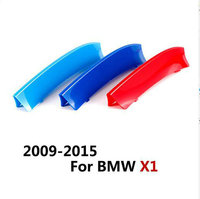 3 Color ABS 3D M Car Front Grille Trim Strips Cover Motorsports Stickers For Bmw X1