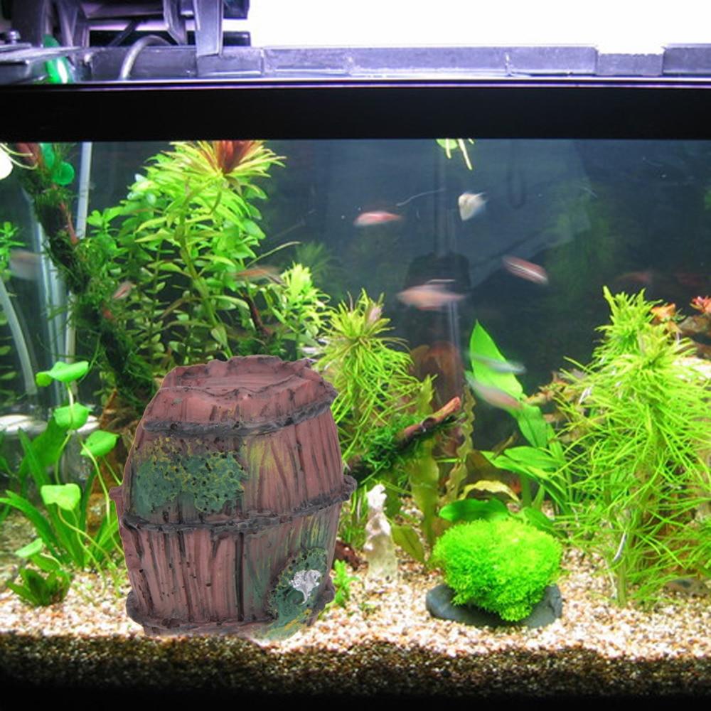 HOT Aquarium Fish Tank Resin Broken Barrel Cave Ornament Landscaping Decor EP