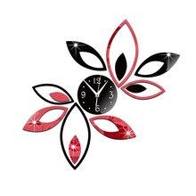 DIY Removable mirror Wall sticker clock Fashion wall clock Lotus clock Home Decoration wallpaper Acrylic wall sticker цена в Москве и Питере