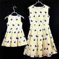 Mariposa princesa falda de algodón plisado vestido de tirantes de verano madre e hija vestidos a juego de los niños niñas vestido de fiesta de cumpleaños