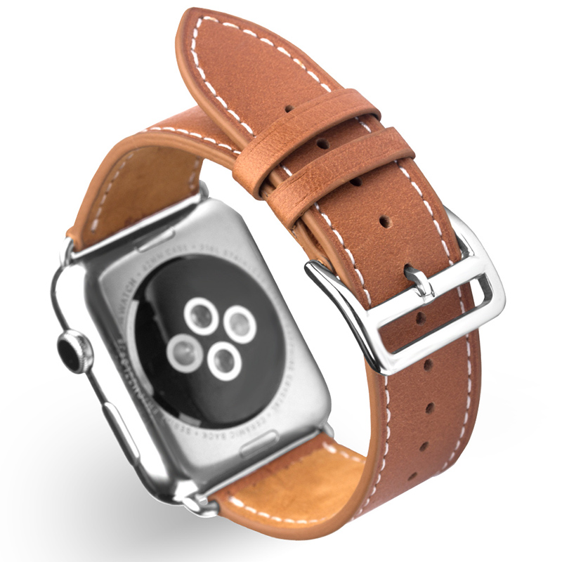 QIALINO Fashion Genuine Leather Strap for iWatch Sports Stainless Steel Pin Buckle Watch band for Apple watch 42mm 38mm Series 2 wristband silicone bands for apple watch 42mm sport strap replacement for iwatch band 38mm classic stainless steel buckle clock
