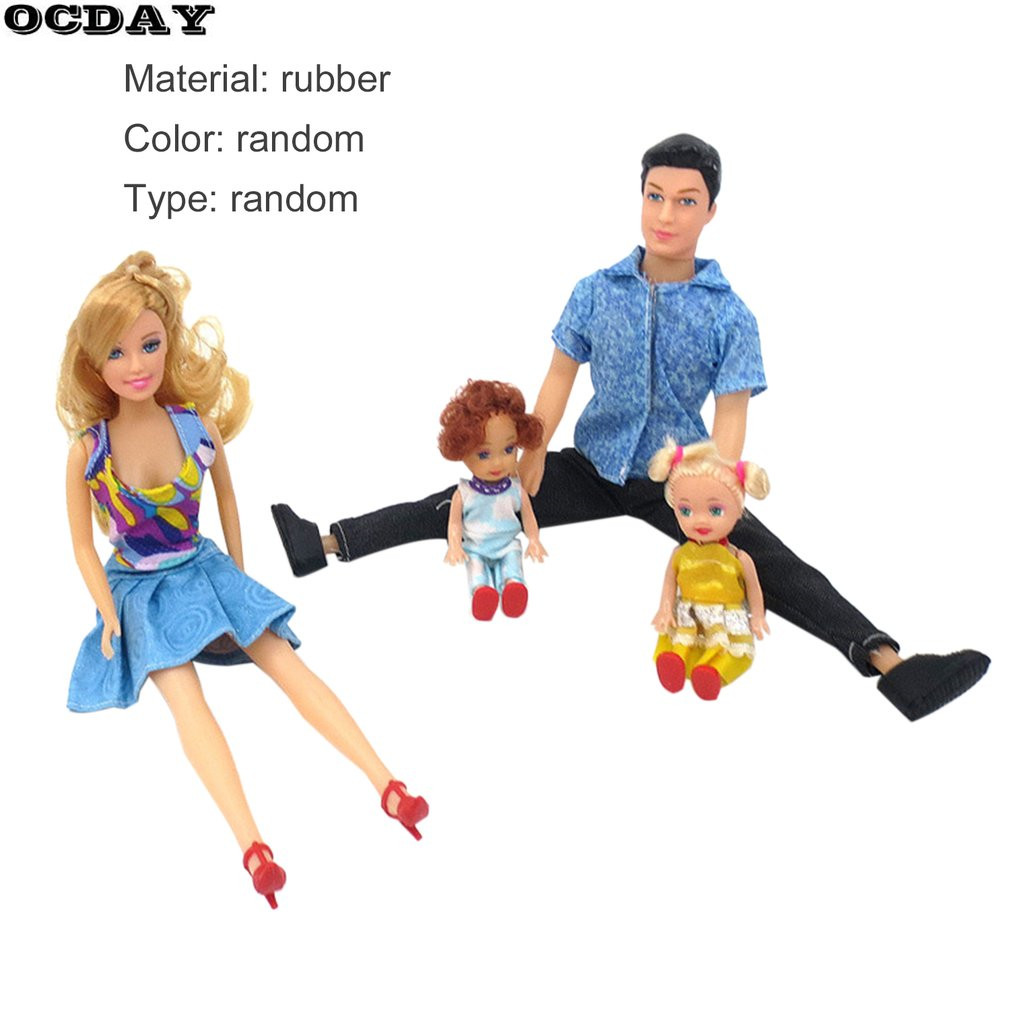 OCDAY 4pcs Family Dolls Suits Father+Mother+2 Kids 4 People Dress Up Kit Children Baby Toys Removable Joints Plush Stuffed Doll
