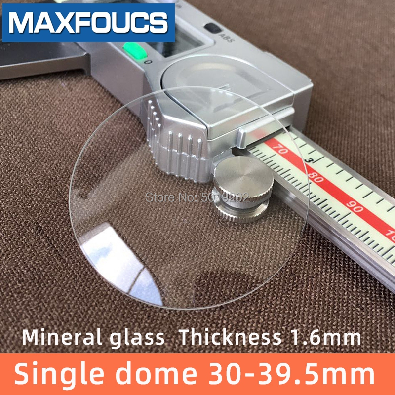 Watch Glass  Mineral Glass  Single Dome  Thick  1.6 Mm Diameter  30 Mm To 39.5 Mm Transparent Crystal  1Pieces
