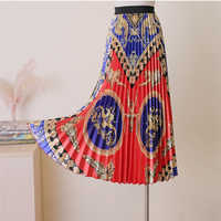 BGSOLID long skirt fashion 2019 print pleated fairy loose A word skirt high waist straight skirt popular hot