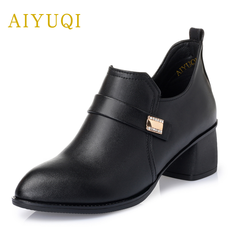 AIYUQI Plus size 42#43# women's shoes 2018 spring new genuine leather women shoes comfortable breathable Handmade ladies shoes aiyuqi 2018 spring new genuine leather women shoes shallow mouth casual shoes plus size 41 42 43 mother shoes female