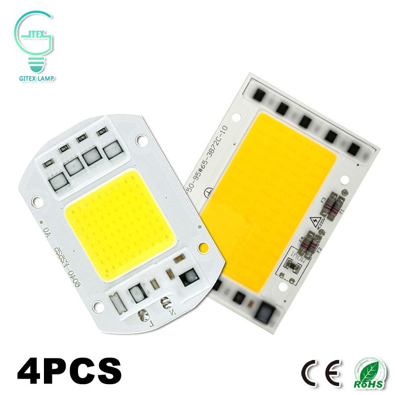 4Pcs 220V 240V COB LED Lamp Chip 10W 15W 20W 30W 50W 100W LED Chip Smart IC Fit No Driver For LED Flood light Spotlight lan mu 10 pcs led cob chip 50w 40w 30w 20w 10w ac 220v 110v no need driver smart ic bulb lamp for diy led floodlight spotlight