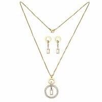 יוקרה צבע זהב עגול גביש אוסטרי תכשיטי חתונה קובע אופנה נשים הארוך להתנדנד עגילי קסם Fit שרשרת תליון