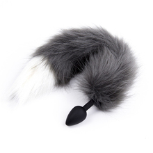 86216656a 28mm silicone anal dildo animal butt plug with gray wolf fur fox tail SM  adult game sex toy for couple women men gay masturbate