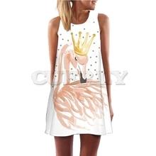 Floral Printed Flamingo Dress Women Feather Elegant Graceful Beach CUERLY Robe Femme Mini Slim Pattern Dropship