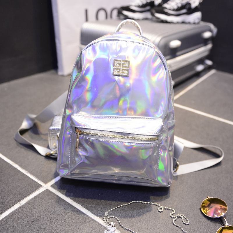 New Arrival Holographic Backpack Women School Backpacks For Teenage Girls Fashion Travel Rucksack Small PU Leather