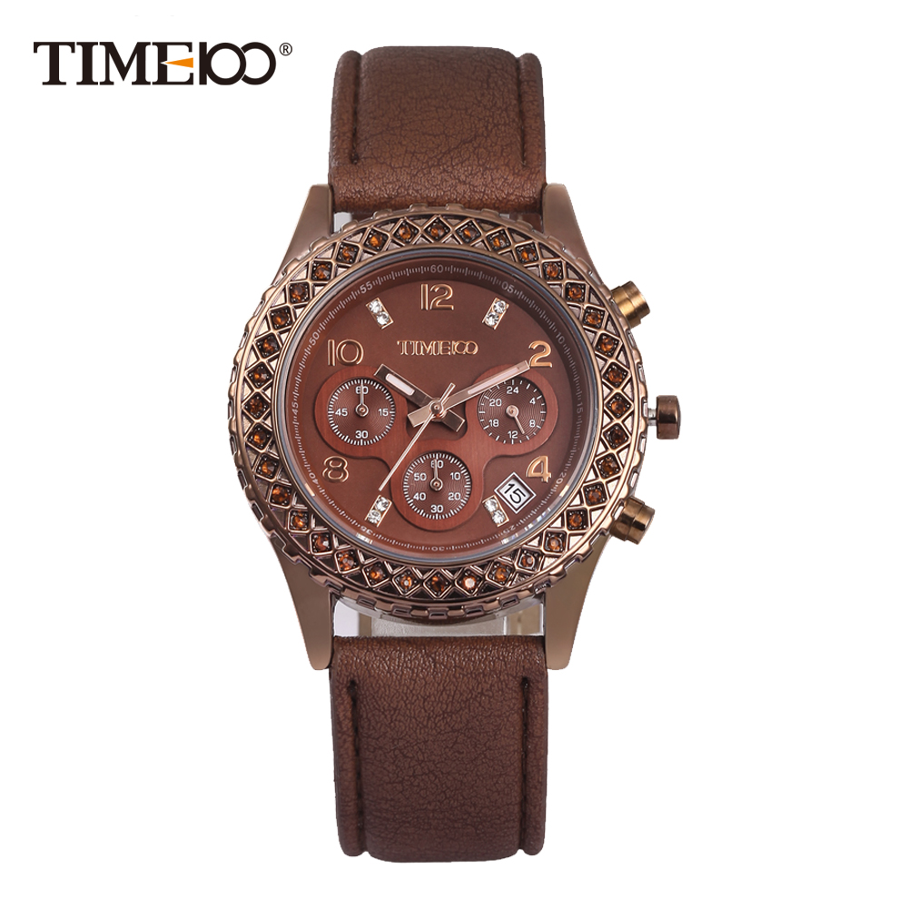 Time100 Fashion Casual Watches Women Quartz Watches Coffee Leather Strap Waterproof Auto Date Ladies Wrist Watch reloj mujer 2018 time100 women watches chronograph diamond auto date sport leather strap casual quartz wrist watches for women relojes mujer