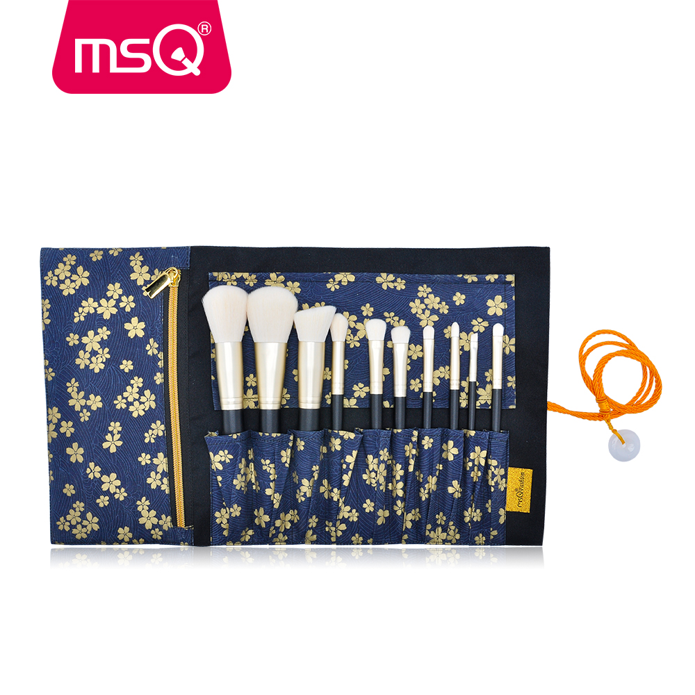 MSQ 10pcs Makeup Brushes Set Powder Foundation Eyeshadow Make Up Brush Cosmetics Kit Soft Synthetic Hair With Canvas Case  makeup brush set red cosmetics eyeshadow brushes pro synthetic hair make up brushes cosmetics foundation brush beauty 10pcs