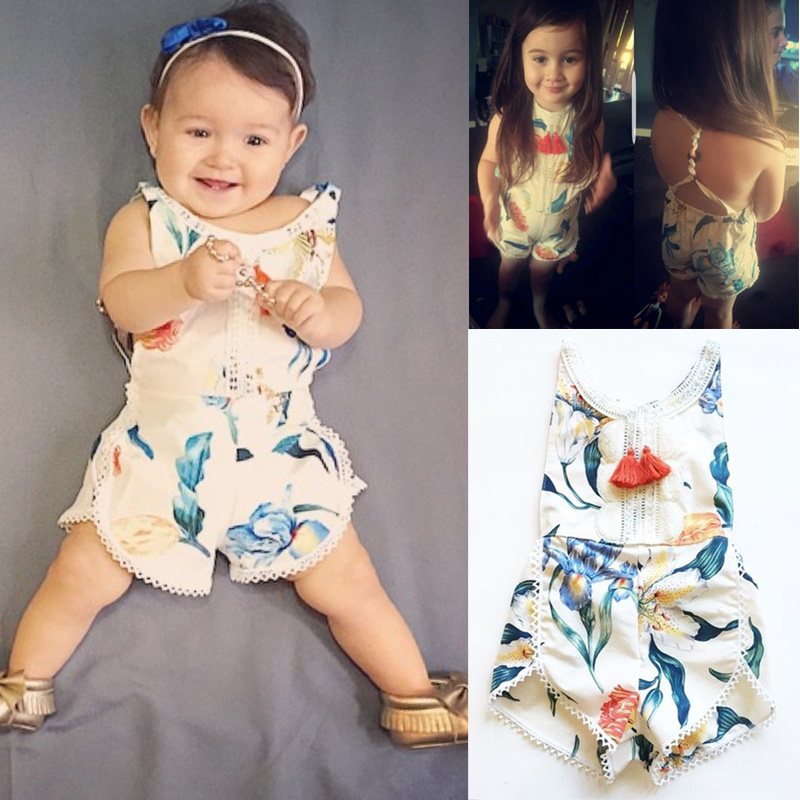 Floral Newborn Baby Girl Kids Sleeveless Flower Romper Jumpsuit Backless Cotton Sunsuit Outfits 2