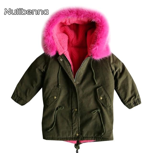 e5f37ccdd0d3 FUR COAT Kids Girls Coat Fashion Baby Pink Fur Inside Coat In Army ...
