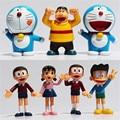 7 unids/lote 10 cm Altos Juguetes de Acción de PVC Figuras de Acción Muñecas Doraemon Nobita Nobi Shiuka Al Por Menor Envío Gratis