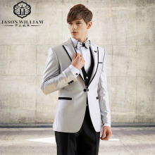 LN019 Man Suit New Design Groom Tuxedos Black Edge Groomsman Suit for Man Clothes Custom Made Wedding Suit (Jacket +pants+vest)