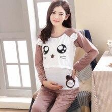 Купить с кэшбэком Moms Maternity Clothes Maternity Nightgown Breastfeeding Pregnancy Sleepwear for Pregnant Women Nursing Pajamas Set Bear