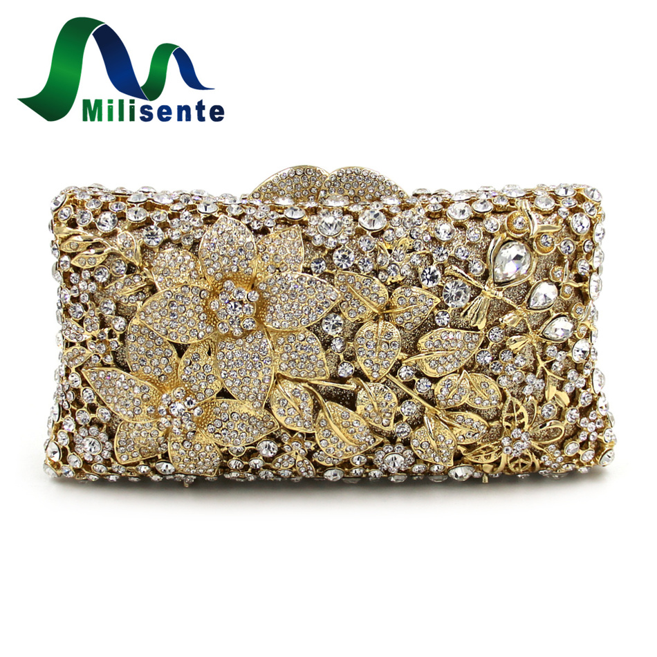 ФОТО Milisente Designer Handbags Flower Clutch Luxury Crystal Bags Lady Evening Bag With Chain Solid Noble Gold Wedding Clutches