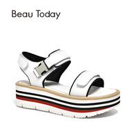 BeauToday Flat Platform Women Sandals Calfskin Genuine Leather Wedges Heel Female Summer Shoes Handmade 32055