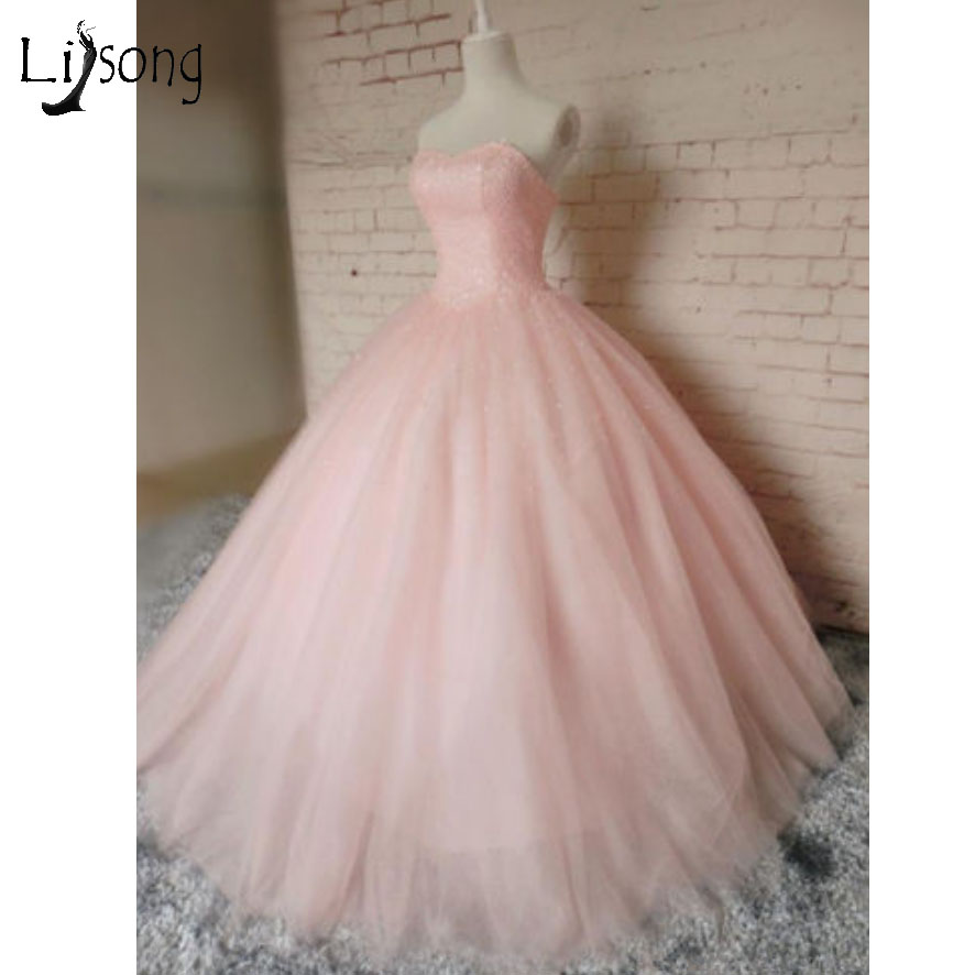 Blush Pink Puffy Pricess Ball Gowns Shiny Crystal Long   Prom   Gown 2018 Flower   Prom     Dress   Robe De Bal Longue Abiye Robe De Soiree